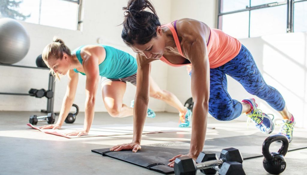 Group of women working out in fitness studio